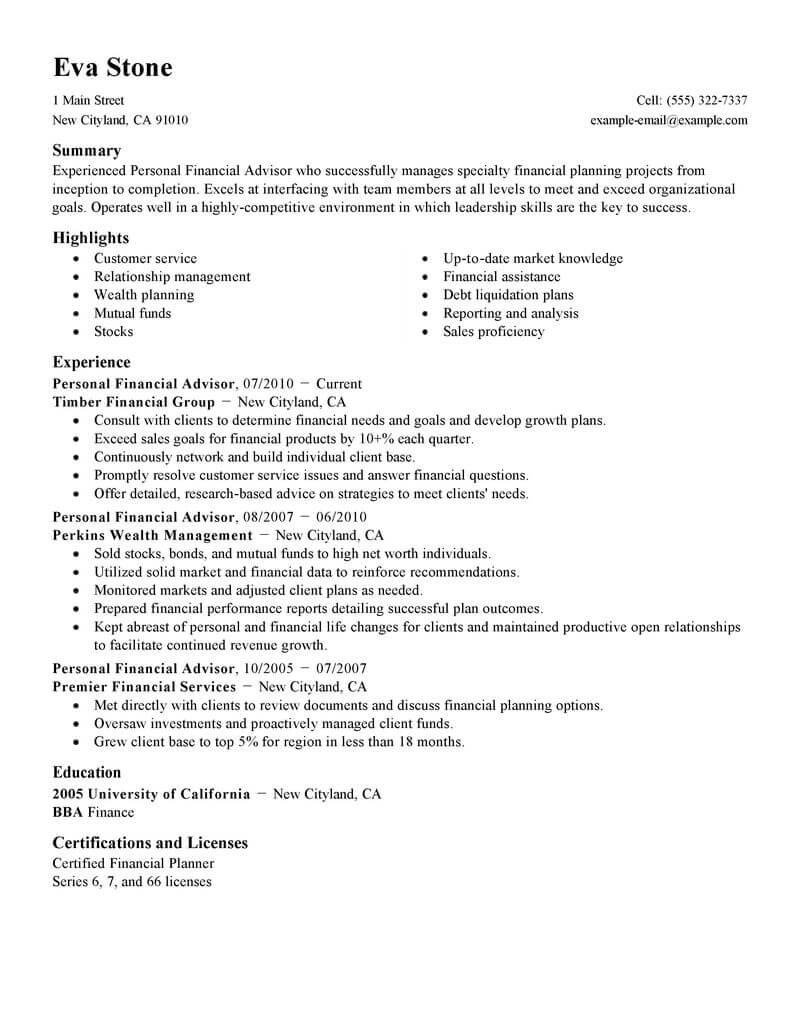 best personal financial advisor resume example from