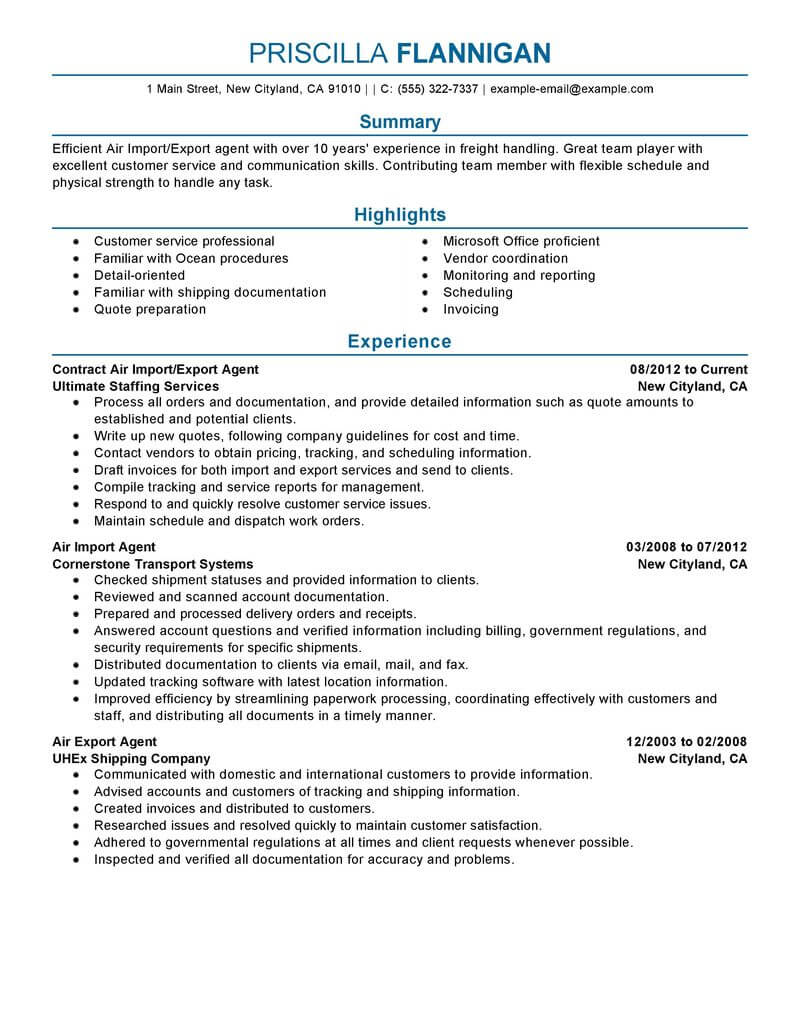 best air import export agent resume example from