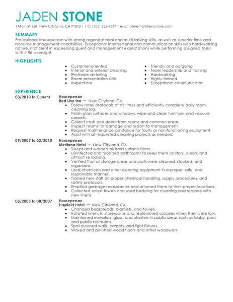 best houseperson resume example from professional resume