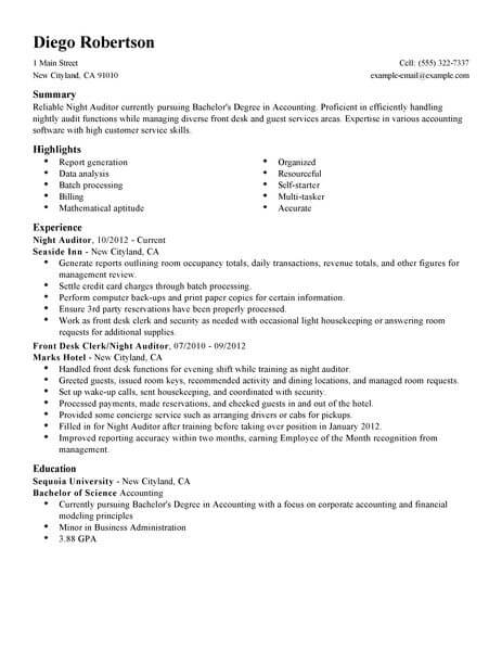best night auditor resume example from professional resume