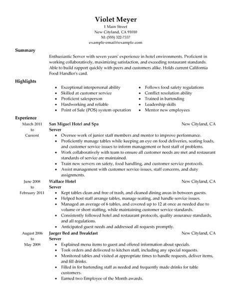 Best Hotel Server Resume Example From Professional Resume