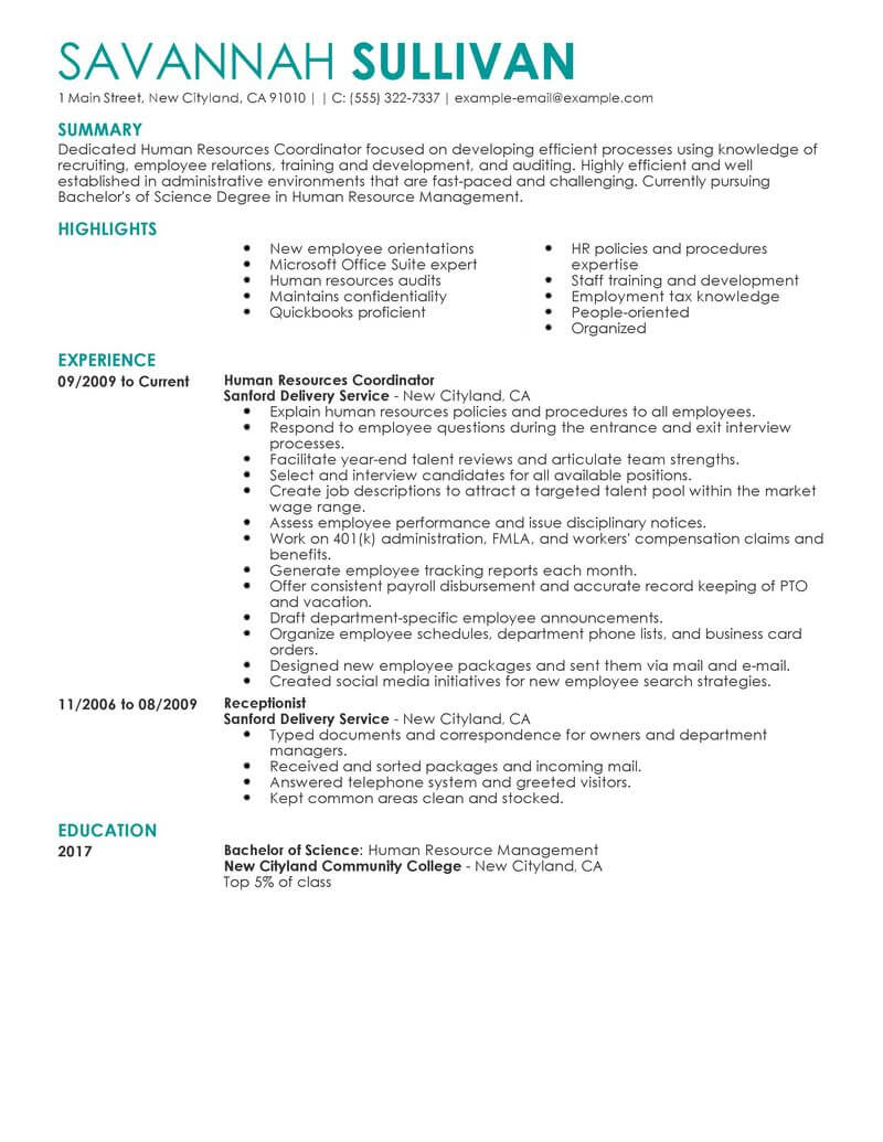 Best Hr Coordinator Resume Example From Professional