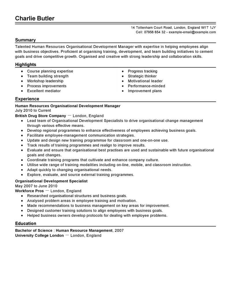 best organizational development resume example from
