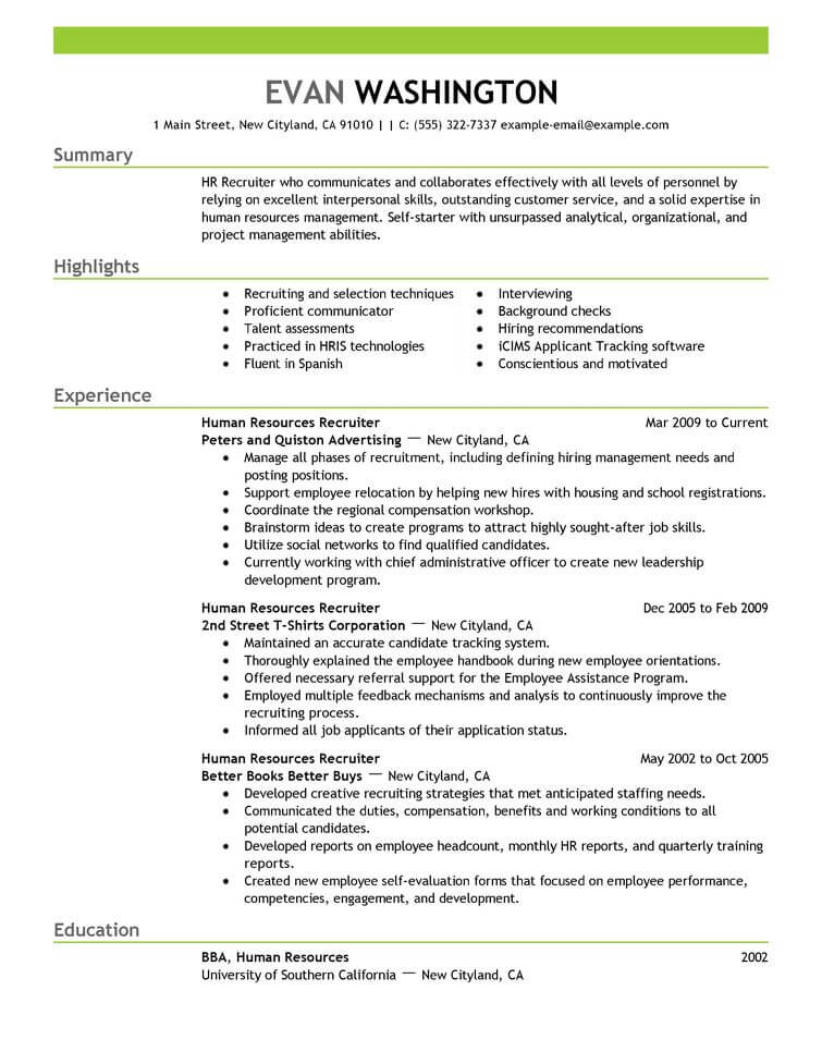 Best Recruiting And Employment Resume Example From Professional