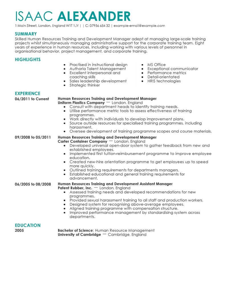 best training and development resume example from