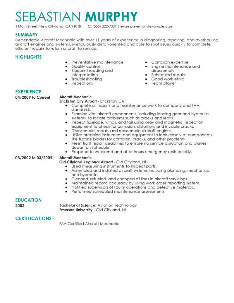 best aircraft mechanic resume example from professional