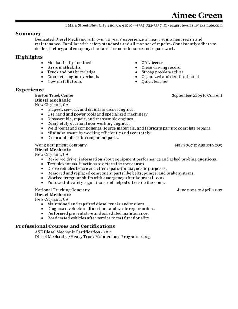 Best Diesel Mechanic Resume Example From Professional ...