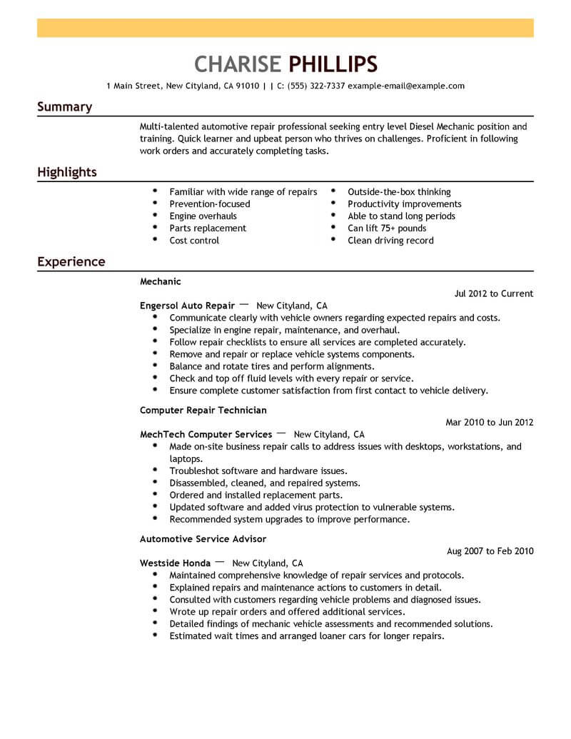 Best Entry Level Mechanic Resume Example From Professional