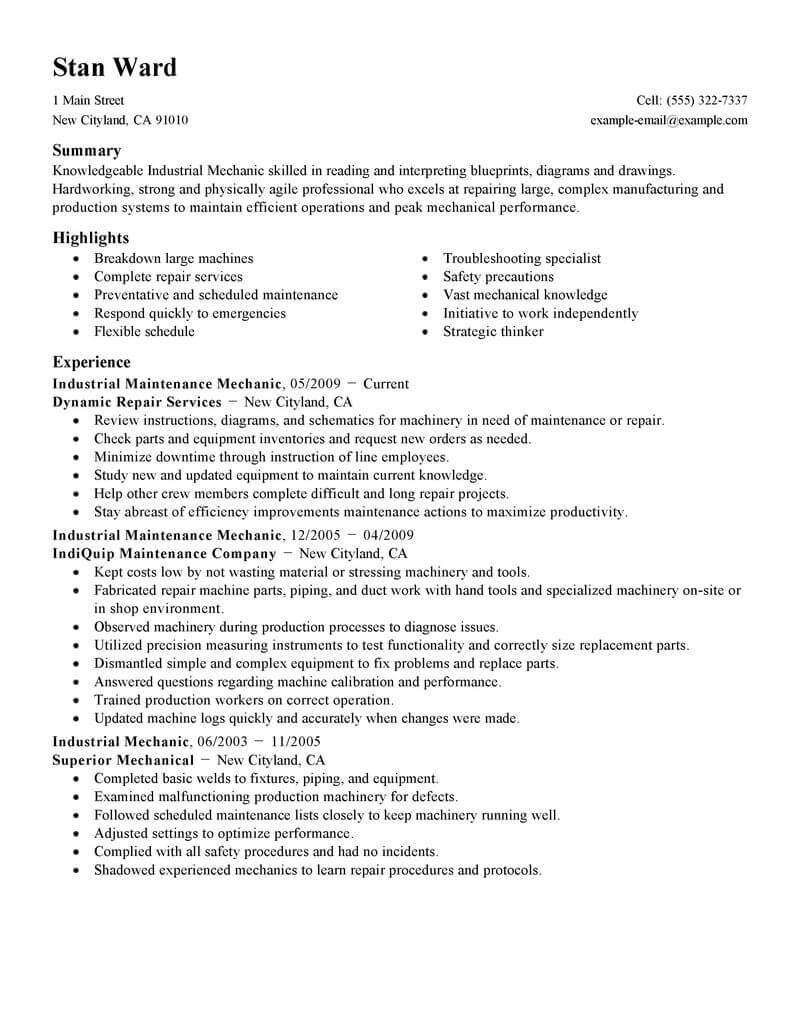 best industrial maintenance mechanic resume example from