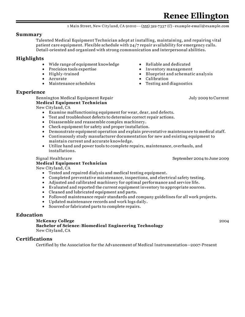 best medical equipment technician resume example from