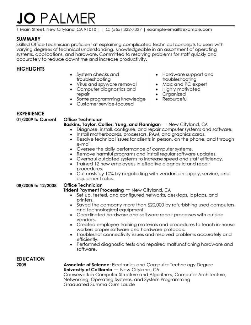 best office technician resume example from professional