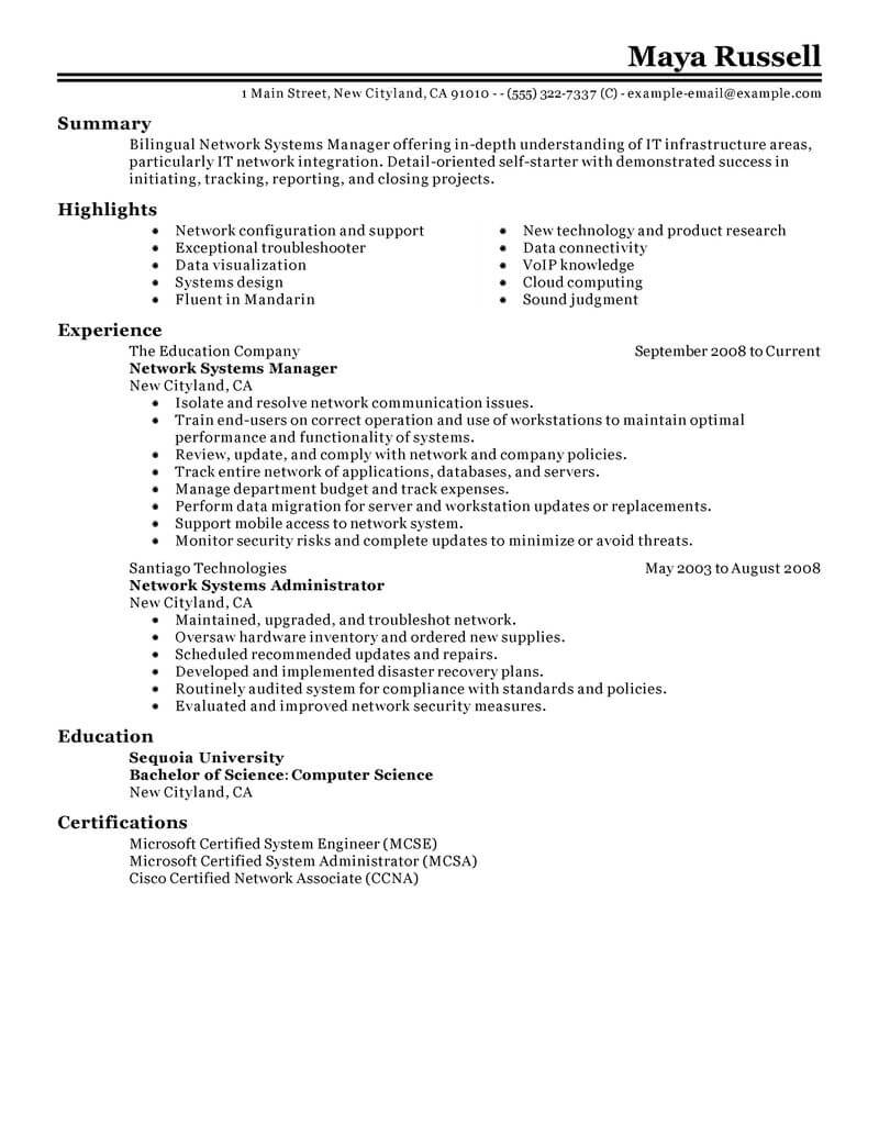 Best Network Systems Manager Resume Example From