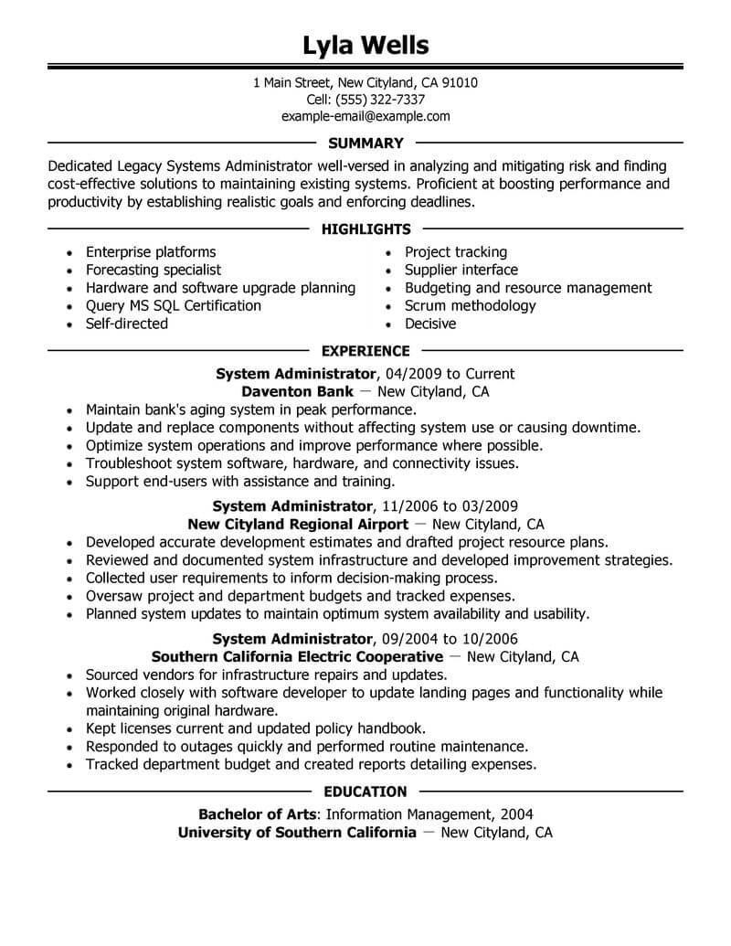 best legacy systems administrator resume example from professional resume writing service