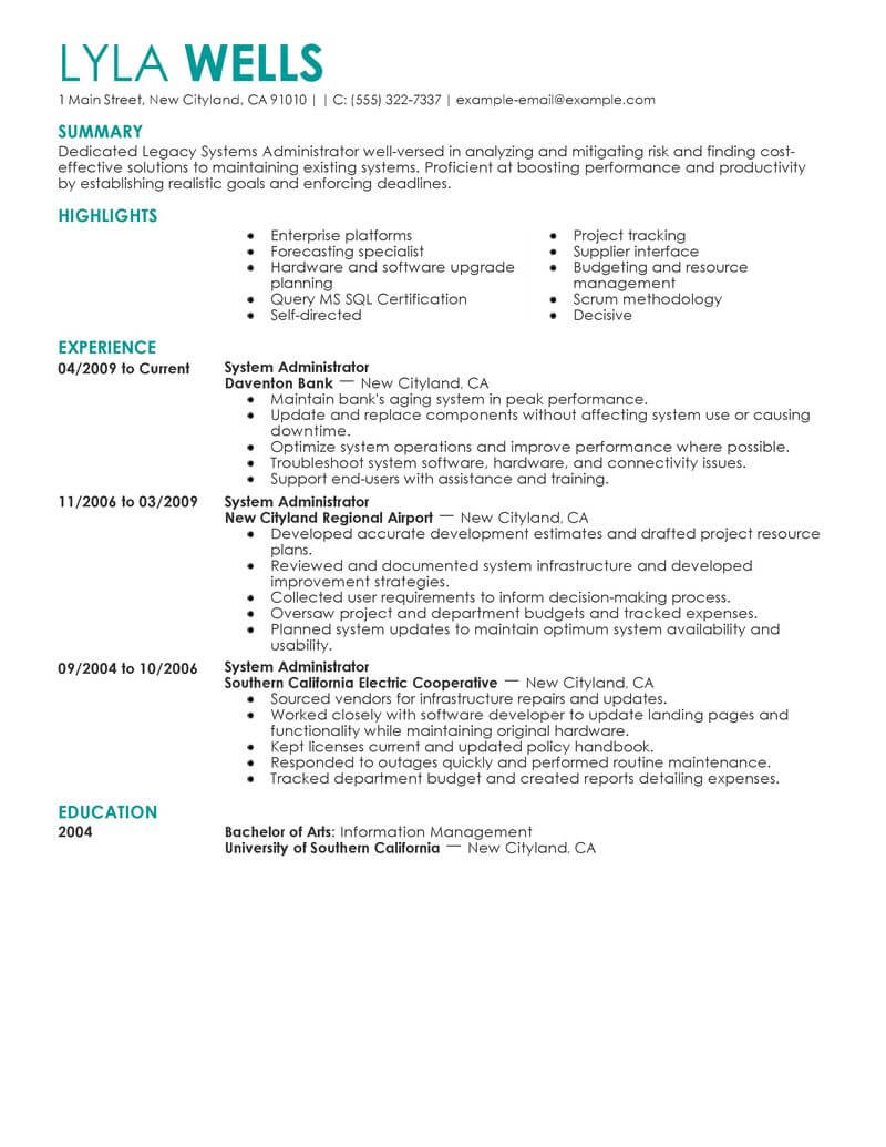 Best Legacy Systems Administrator Resume Example From Professional