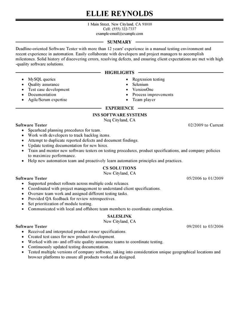 best software testing resume example from professional resume writing service