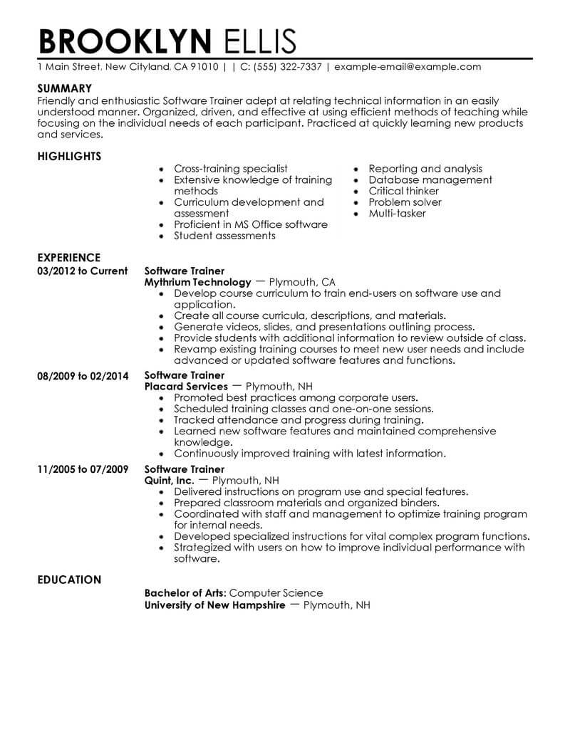 best software training resume example from professional
