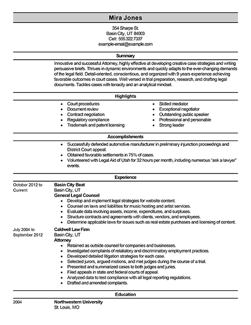 Best Lawyer Resume Example From Professional Resume Writing Service