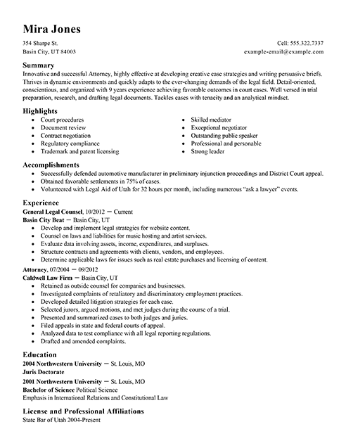 best lawyer resume example from professional resume