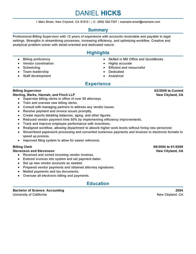 best legal billing clerk resume example from professional