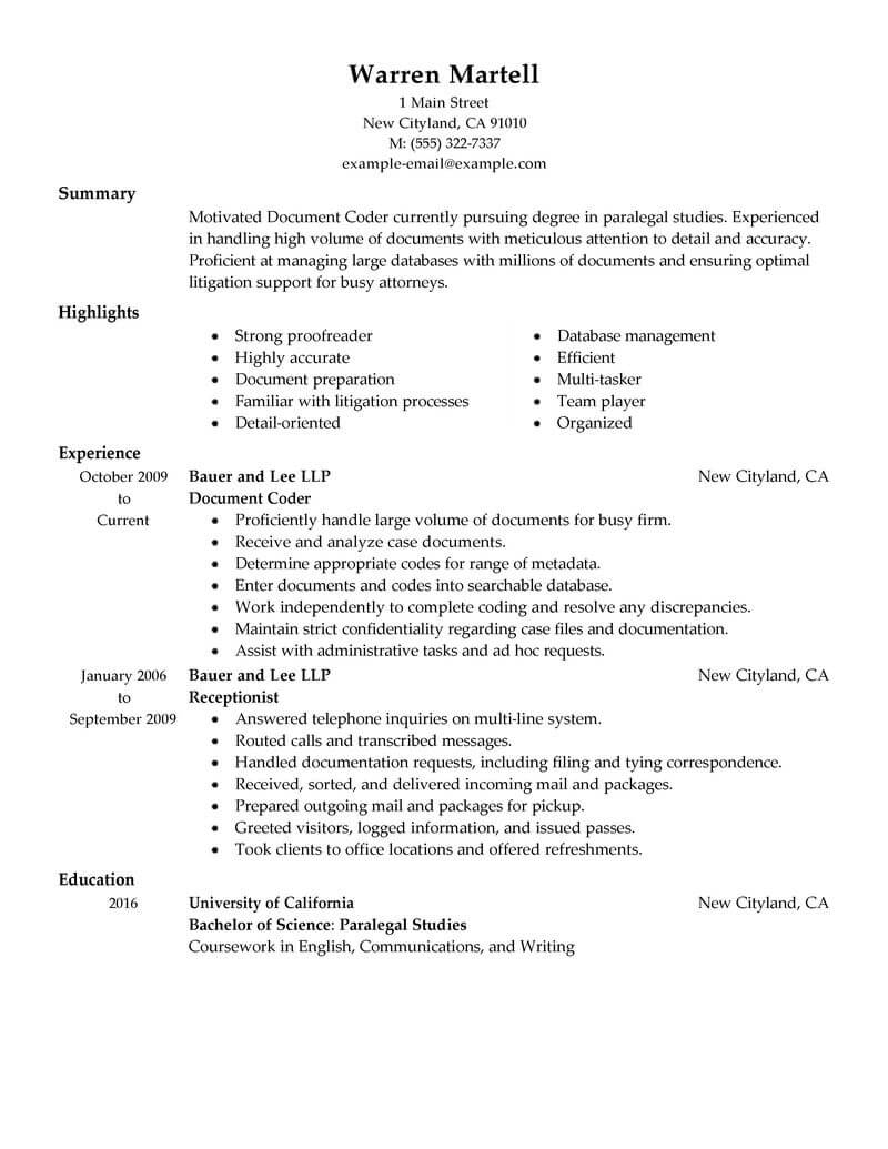 best legal coding specialist resume example from