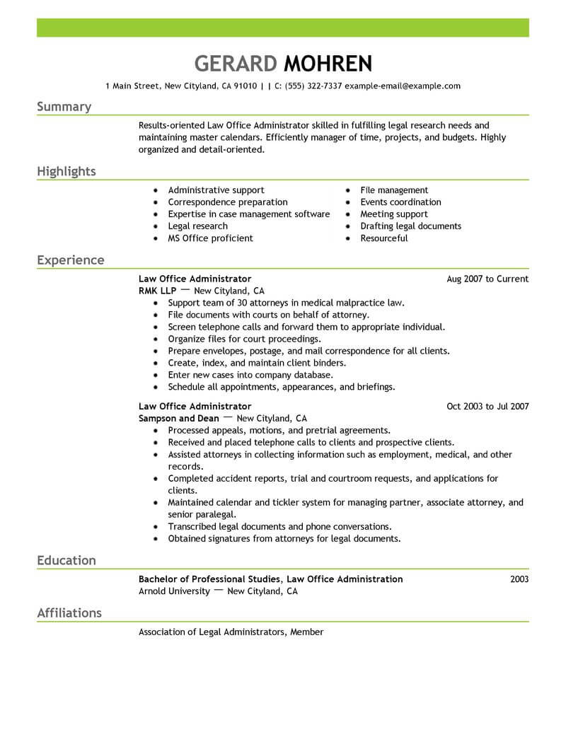 Administrator Resume | Best Office Administrator Resume Example From Professional Resume