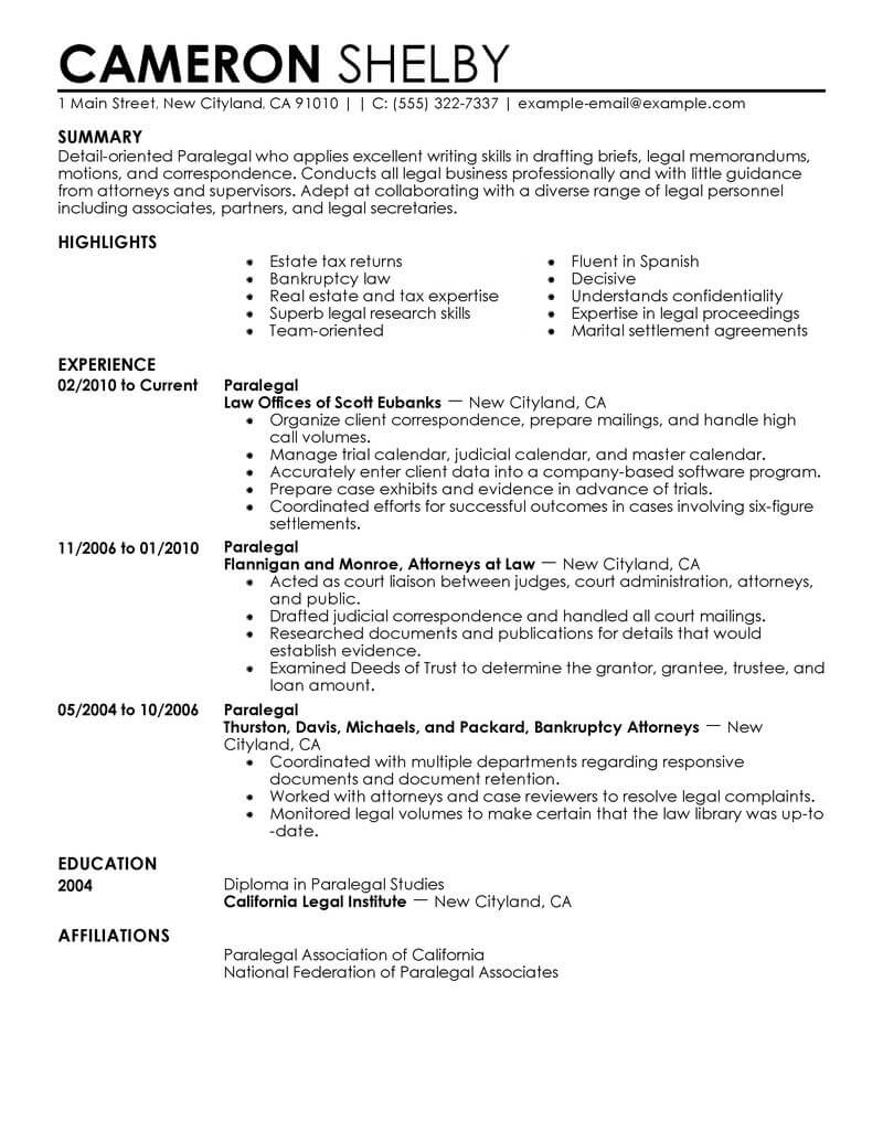 best paralegal resume example from professional resume