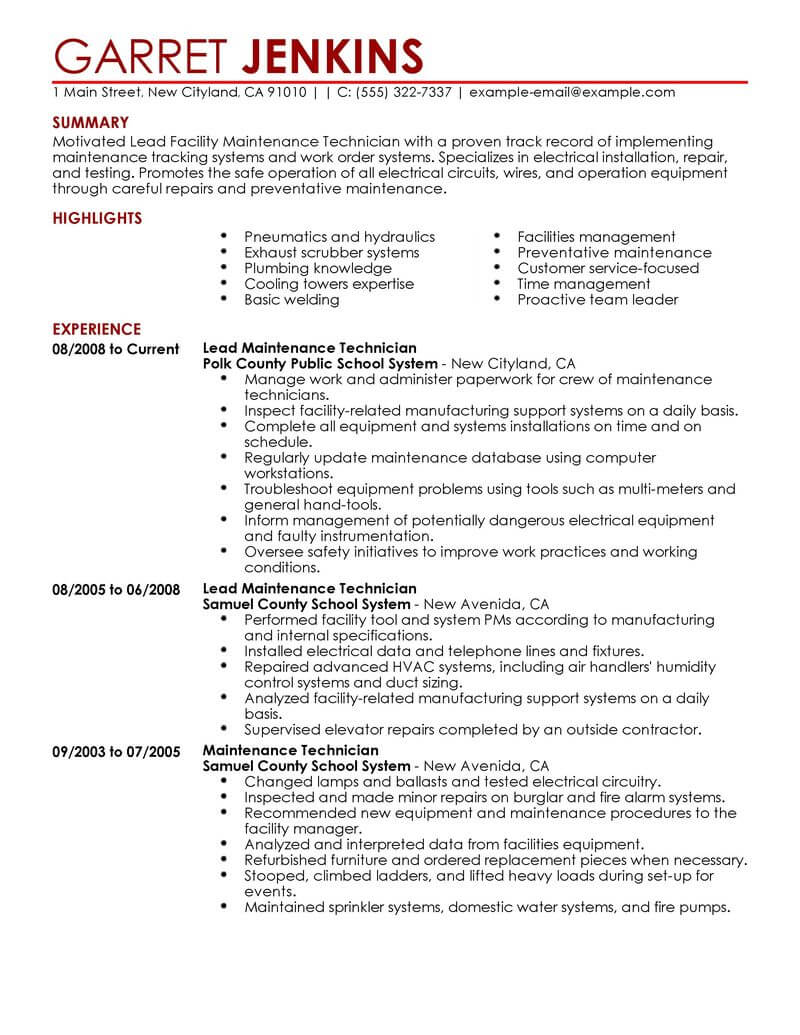 best facility lead maintenance resume example from
