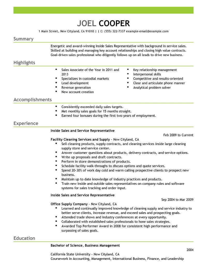 best inside sales resume example from professional resume