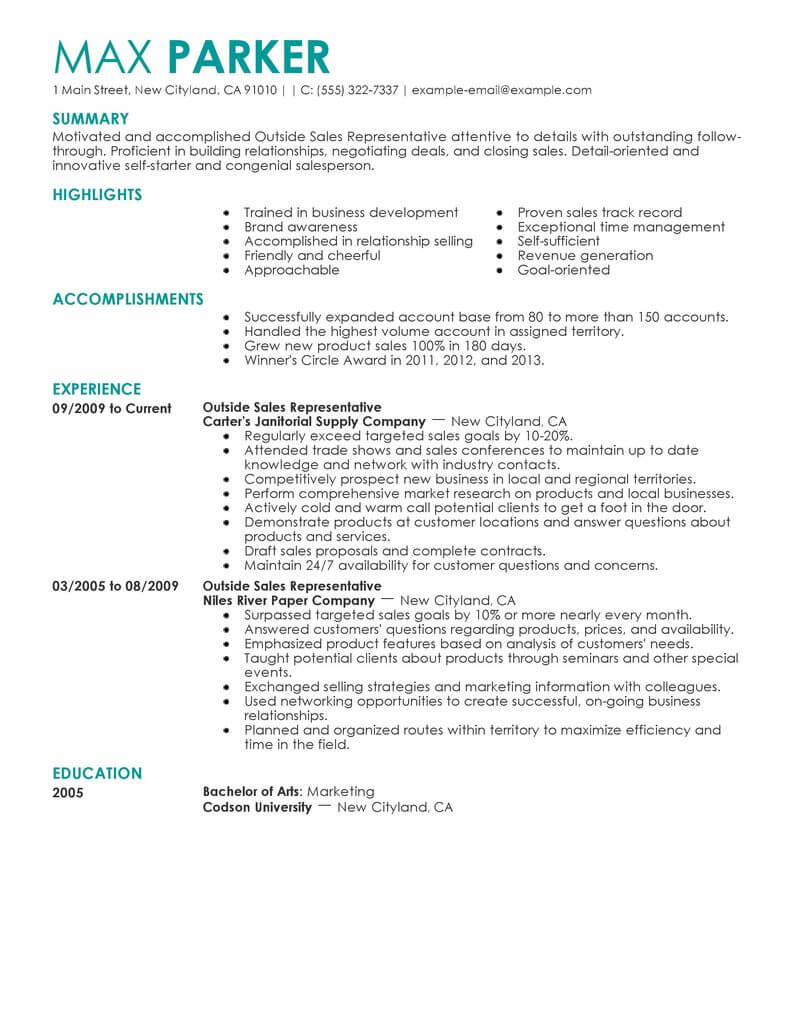 product sales representative resume