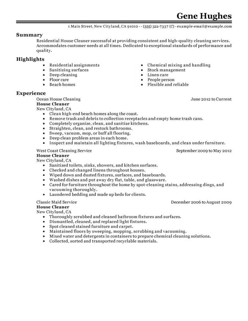 best residential house cleaner resume example from