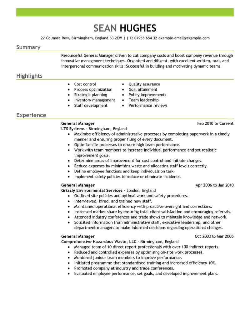 Best General Manager Resume Example From Professional Resume Writing ...
