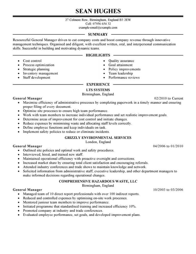 best general manager resume example from professional