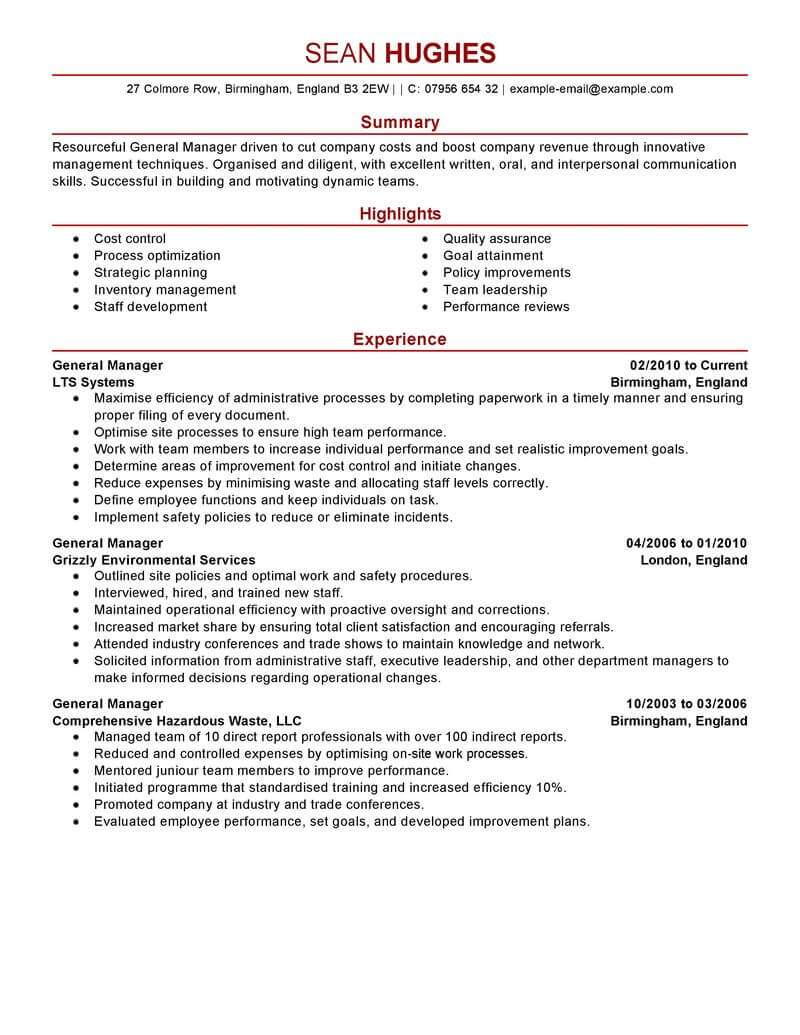 Management Resume Examples Templates
