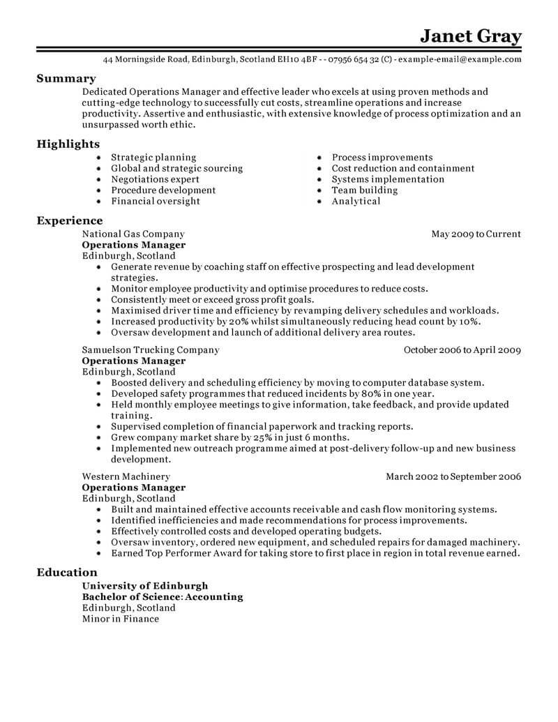 Best Operations Manager Resume Example From Professional Resume ...