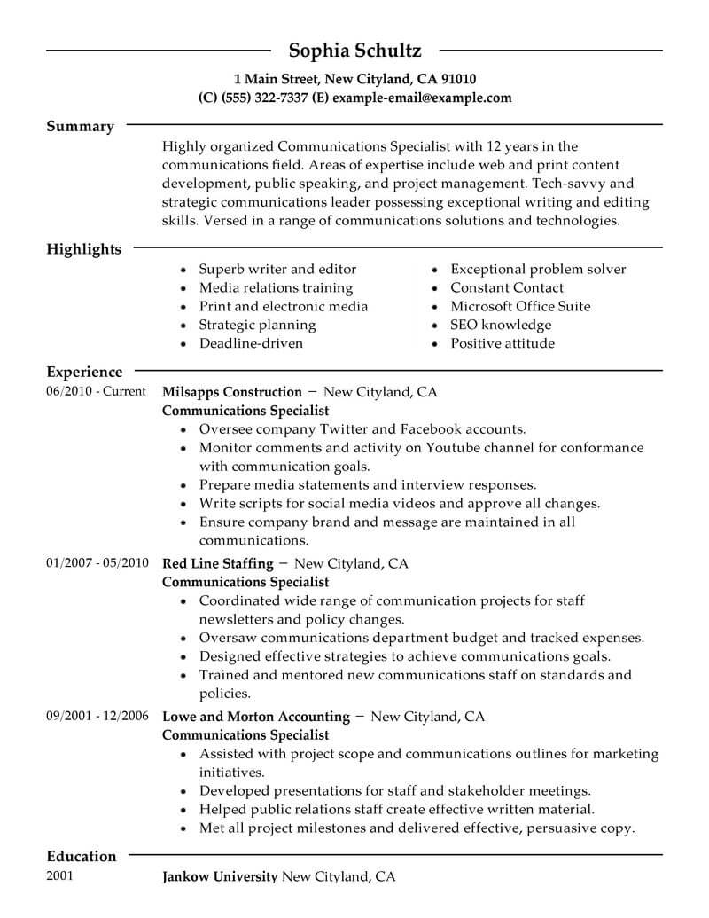Best Communications Specialist Resume Example From Professional - Communication-resume-examples