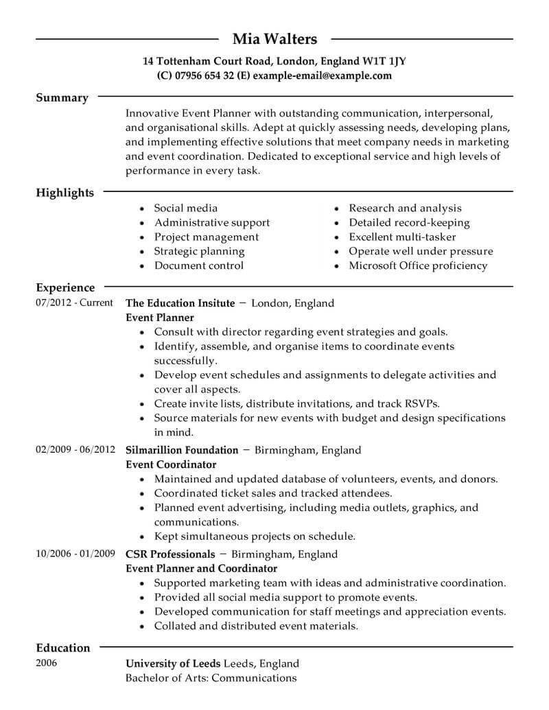 best event planner resume example from professional resume