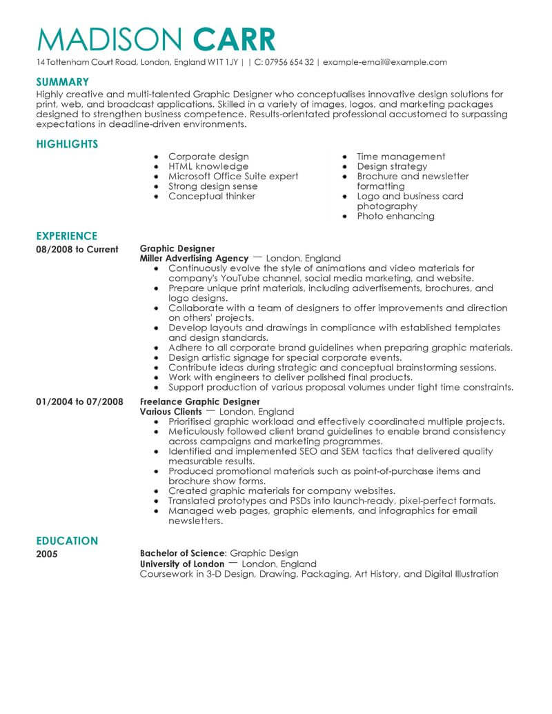 best graphic designer resume example from professional resume writing service