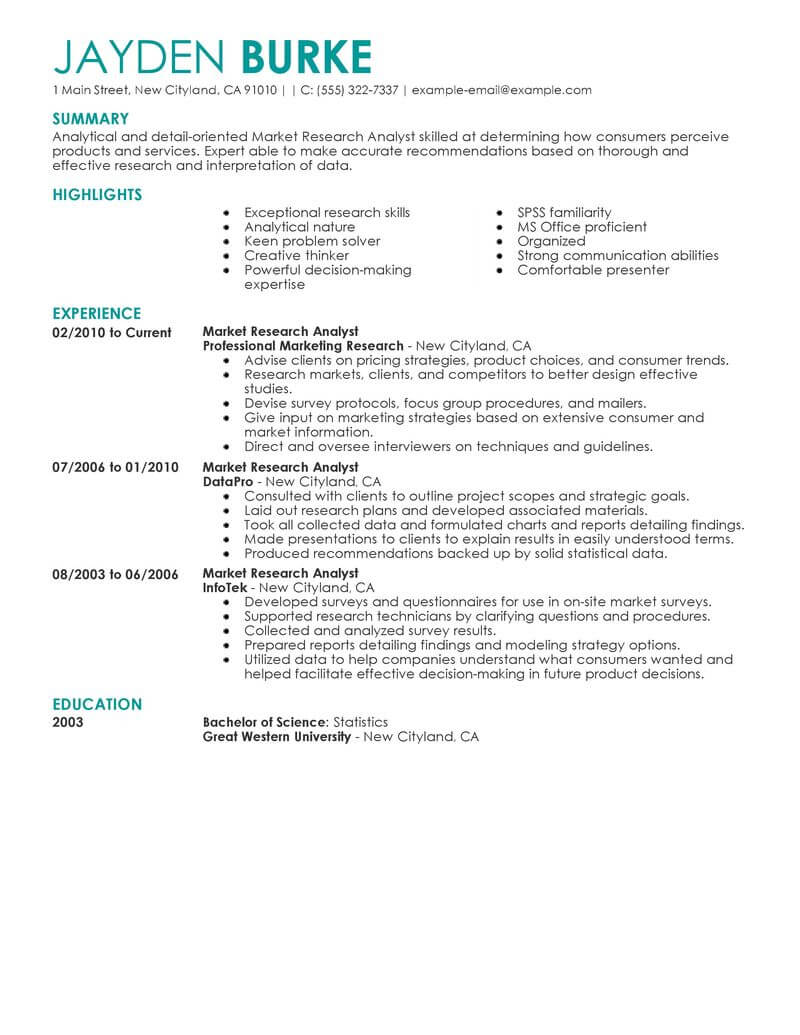 best market researcher resume example from professional resume writing service
