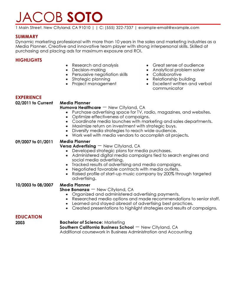 Resume for assistant media planner dissertation hypothesis editor for hire