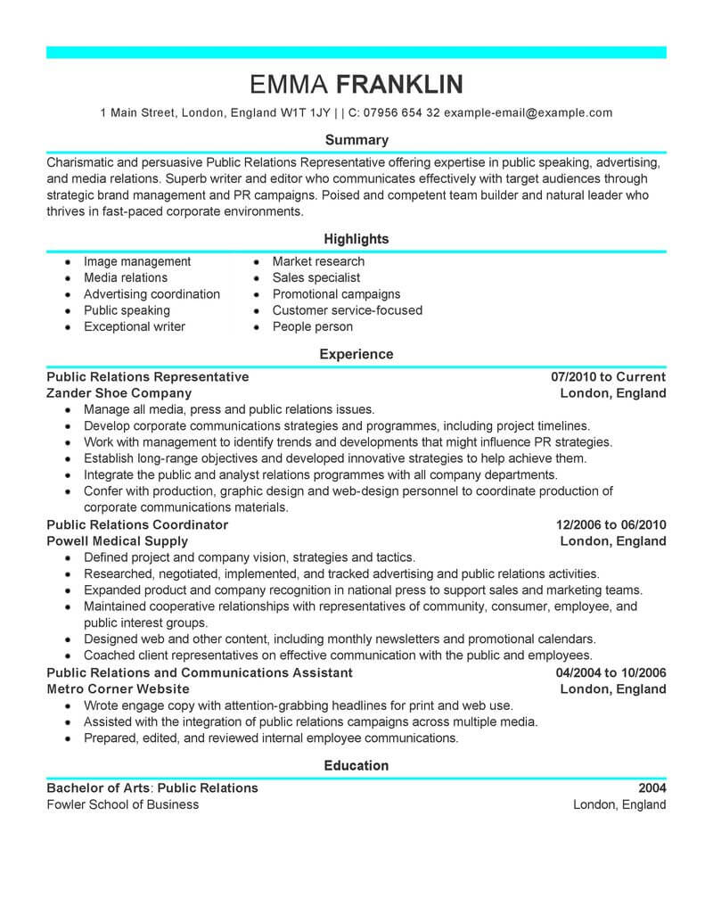 best public relations resume example from professional