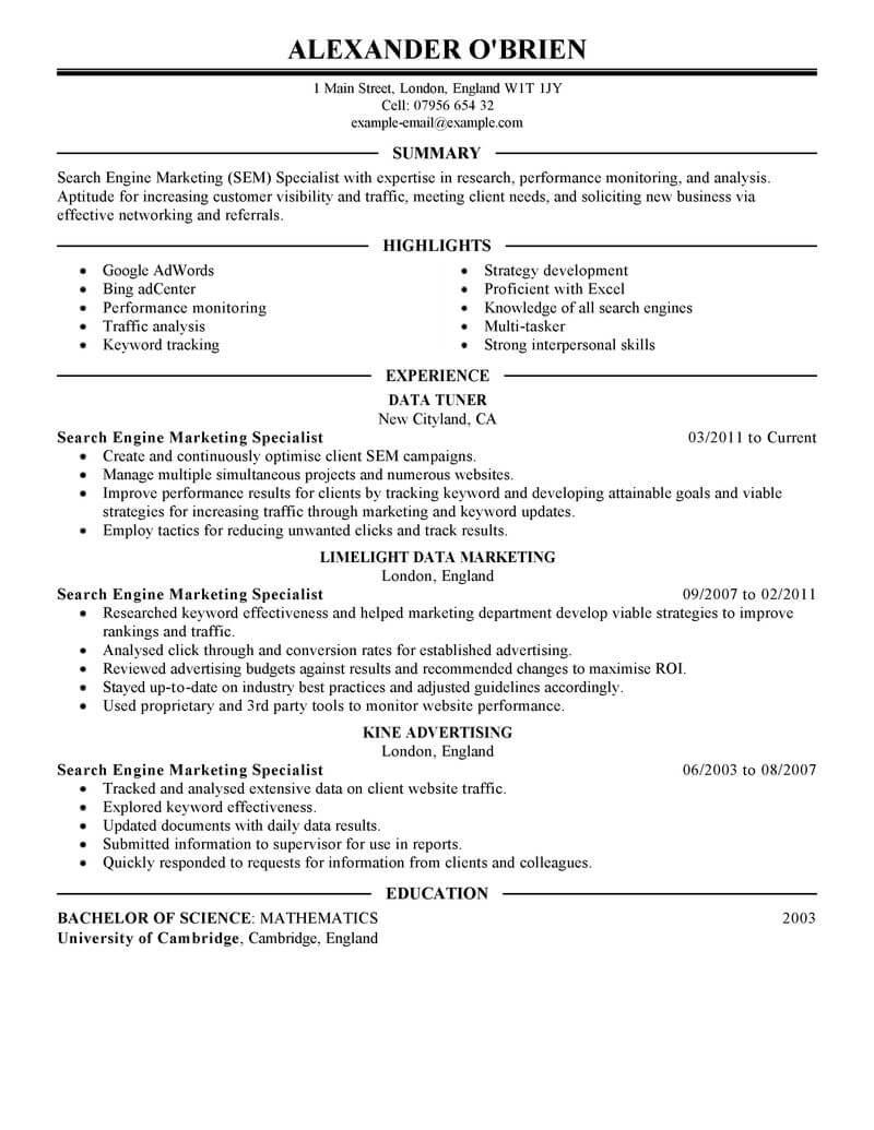 best sem resume example from professional resume writing