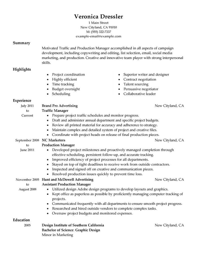 best traffic and production manager resume example from