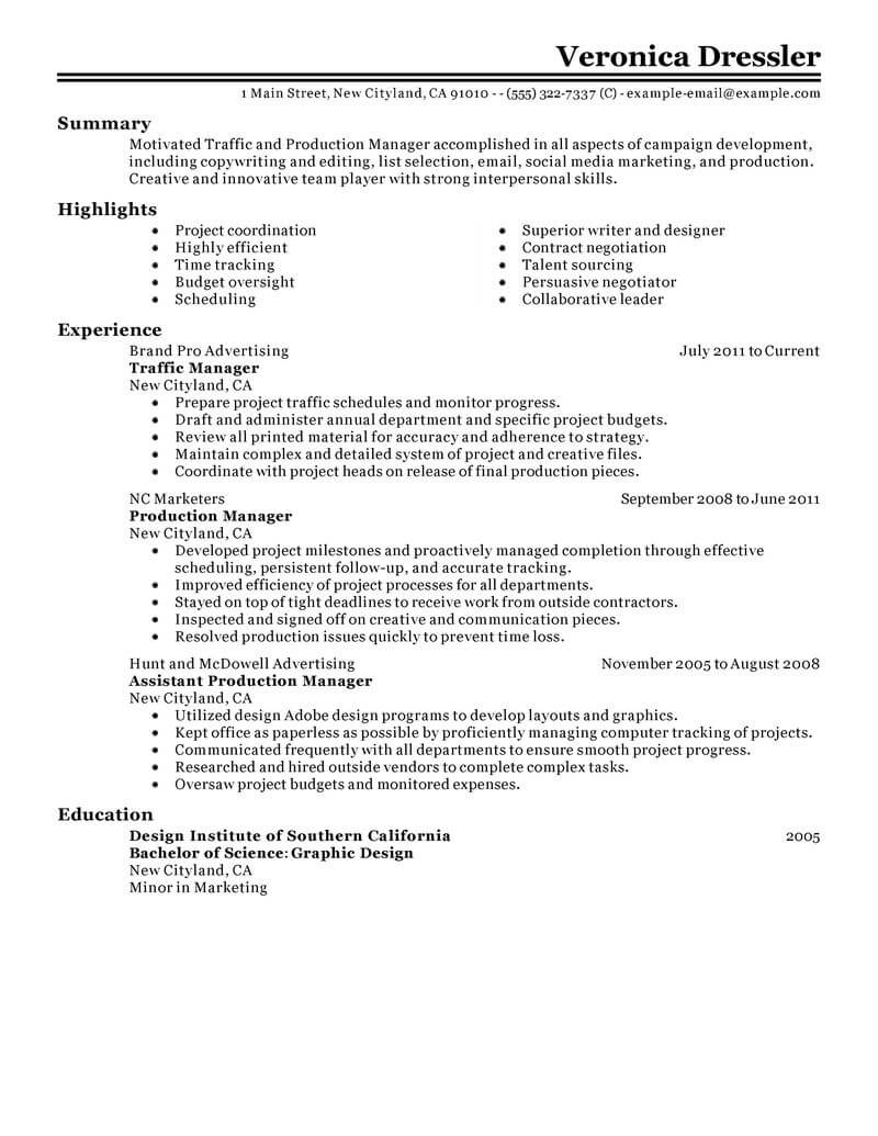 best traffic and production manager resume example from professional resume writing service