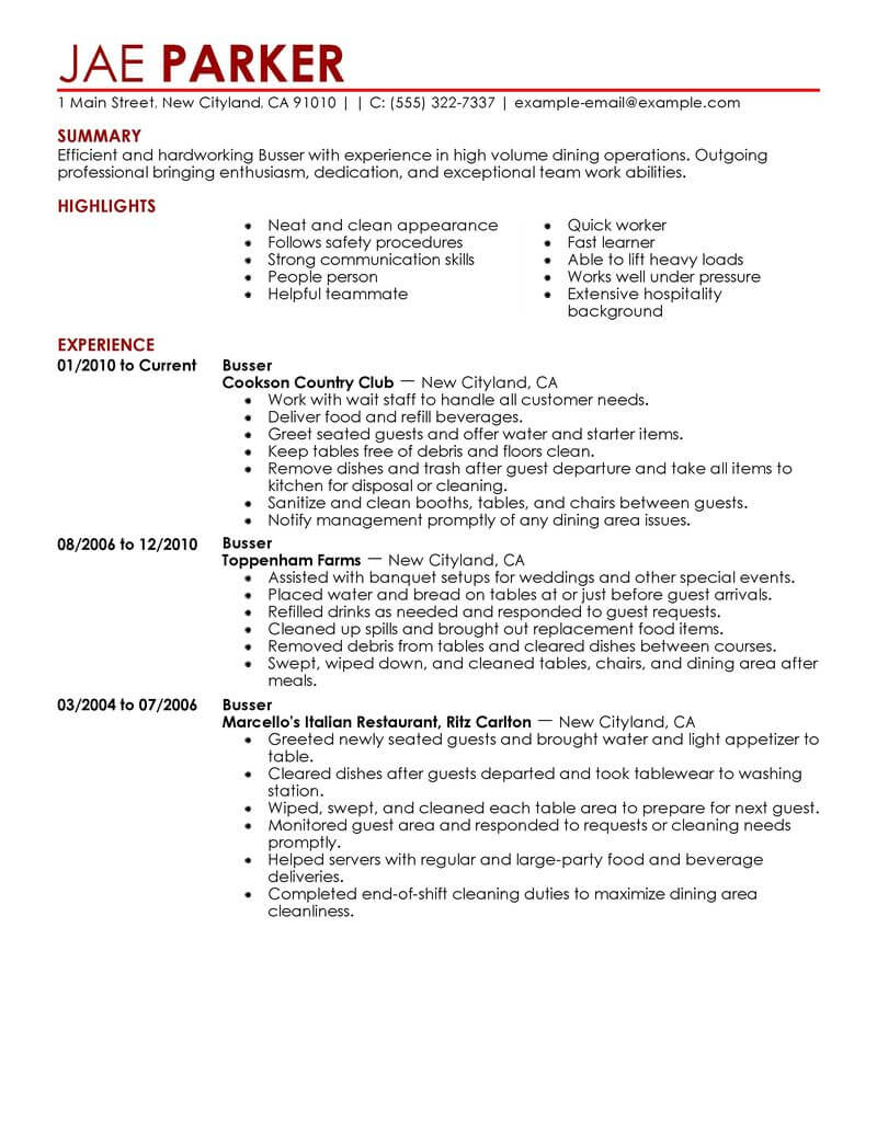 best busser resume example from professional resume writing service