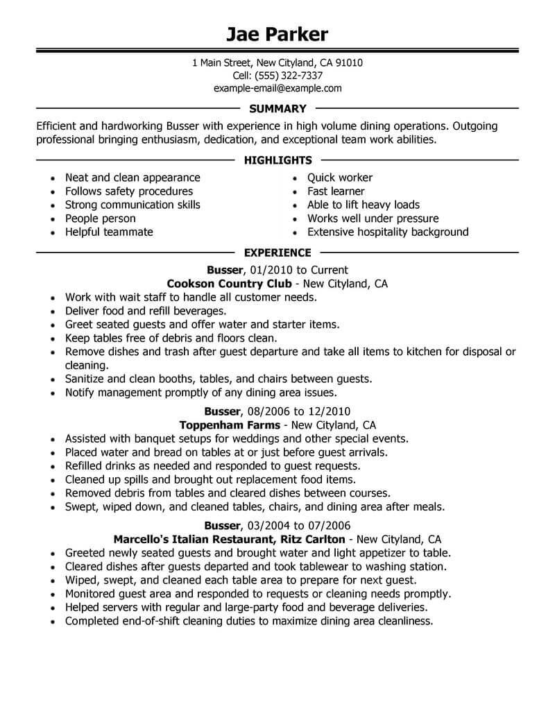 best busser resume example from professional resume