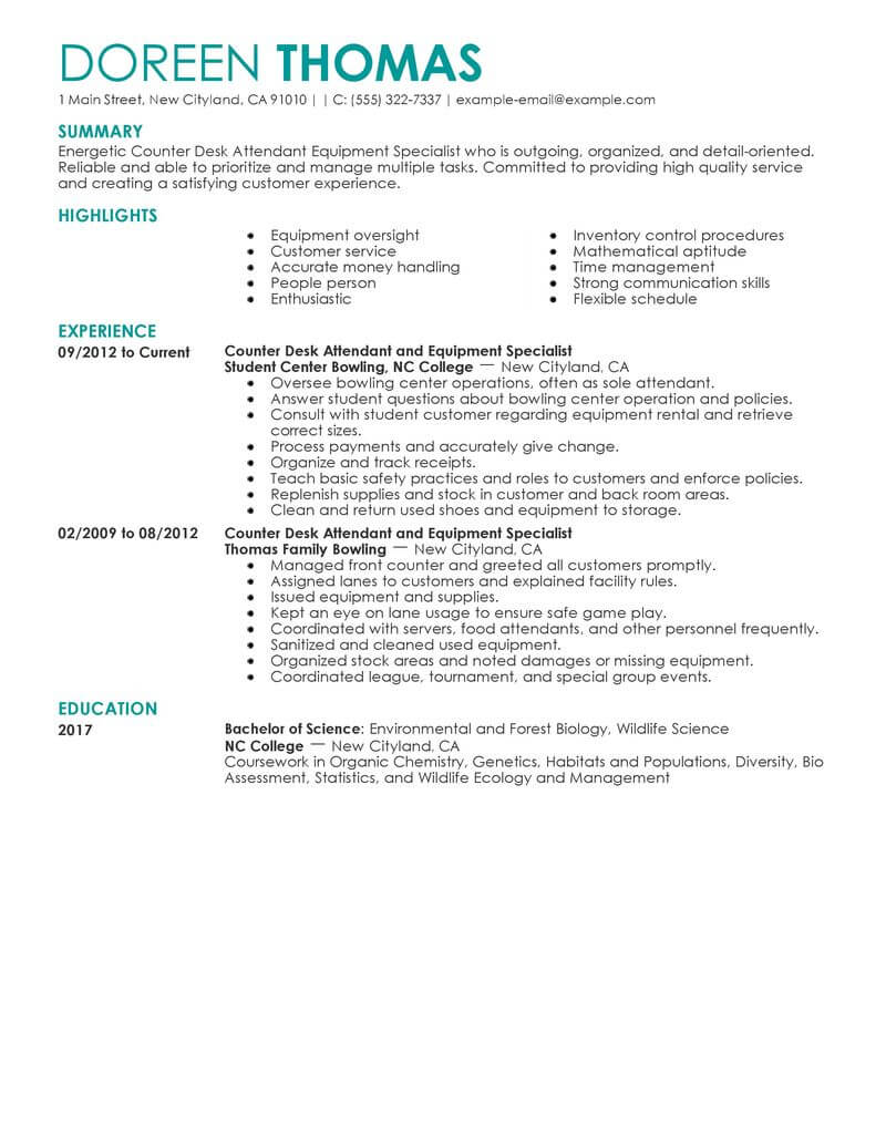 Best Counter Desk Attendant Equipment Specialist Resume Example