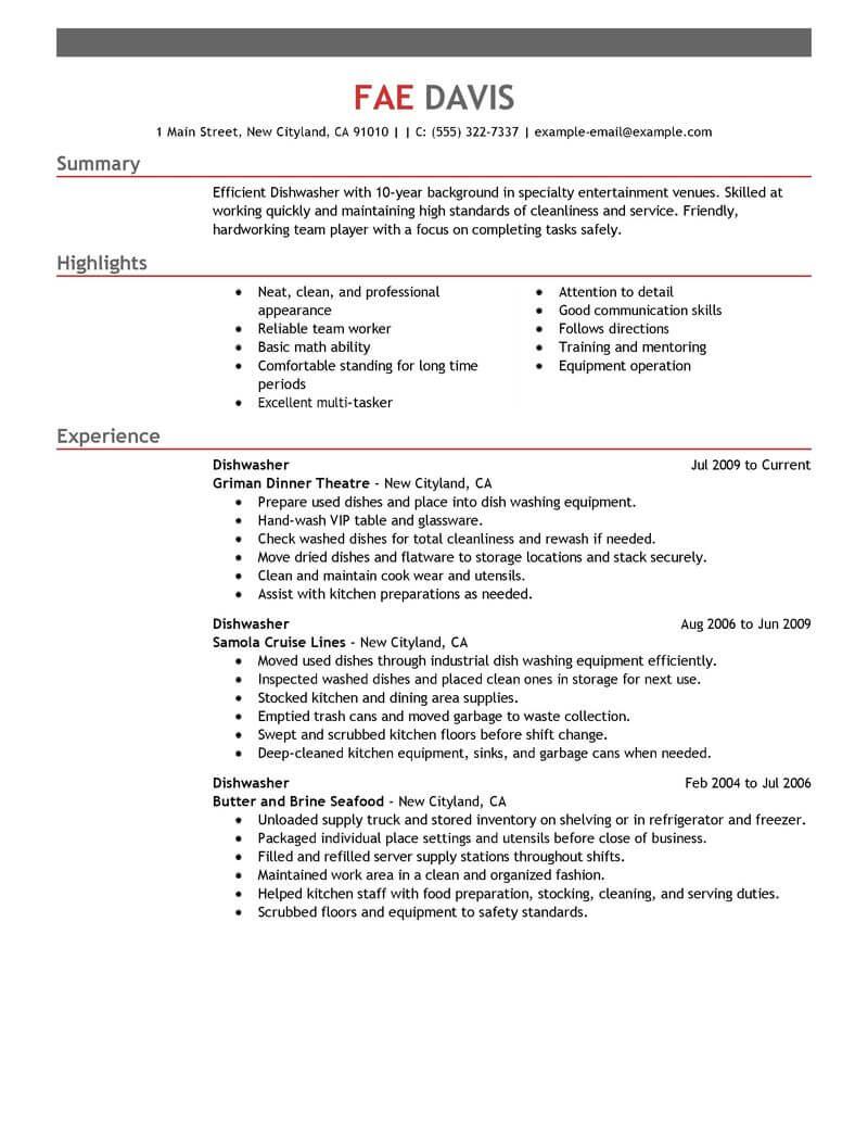 best dishwasher resume example from professional resume