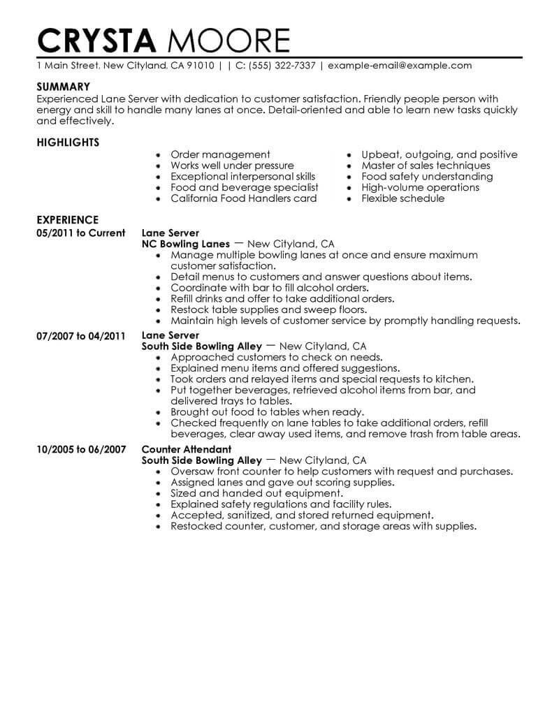 best lane server resume example from professional resume
