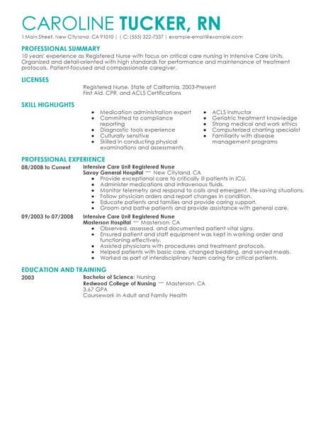 Best Intensive Care Unit Registered Nurse Resume Example From