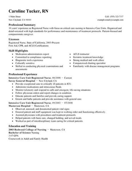 best intensive care unit registered nurse resume example from professional resume writing service